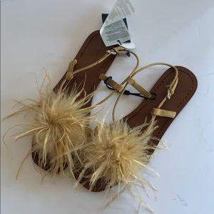 Zara Flat Feather Sandal